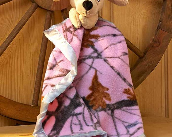 True Timber Pink Camo Lab Dog Snuggle Lovey Blanket Crib toy - Personalized