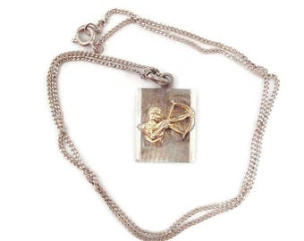 1970s Sagittarius Silver Zodiac Pendant and Necklace