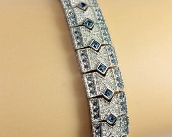 Jacquiline Kennedy Replica Camrose and Kross with clear and blue Swarovski crystals, Swarovski Crystals Bracelet Jacquiline Kennedy Bracelet