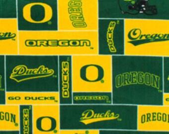 Oregon Ducks hand tied fleece blanket