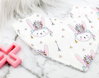 Bandana Bib, Bunny Bib, Rabbit Bib, Baby Girl Bib, Baby Gift, Baby Shower Gift, Baby Bib, Dribble Bib