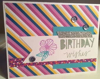 Birthday Wishes Greeting Card, Handmade Card, Birthday Card, A2 size, Happy Birthday, Celebrate, Confetti Wishes, Glitter Tape, Wishes, CTMH