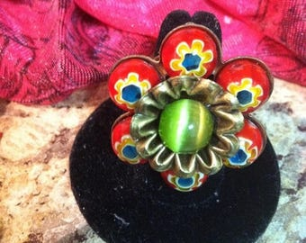 Summer Sale Hand Painted Bead Adjustable Flower Ring Free Shipping Domestic Only