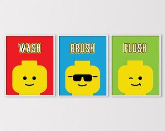 Wash Brush Flush Prints, Lego Bathroom Prints, Bathroom Rules Art, Boys  Bathroom Rules