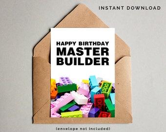 Lego Birthday Card, Boys Birthday Card, Lego Card, Master Builder, Lego Printable Card, Lego Party Birthday Card, Instant Download