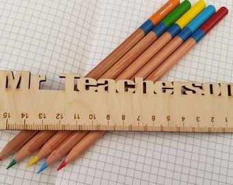 Personalised Ruler, Wooden Ruler, Personalised Stationary, Teacher Gift, Ready for School, Children's Stationary, Design 2