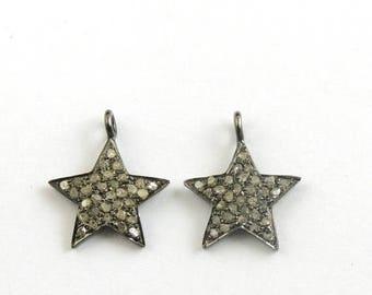 Mega Sale 1 Pc Pave Diamond Star Charm  925 sterling Silver Pendant - Star Charm Pendant 17mmx14mm Pdc511