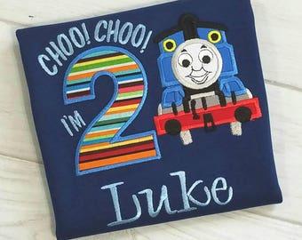 2nd Birthday Train Shirt -  Choo Choo I'm 2 Birthday Shirt - Personalized Boy Birthday Shirt