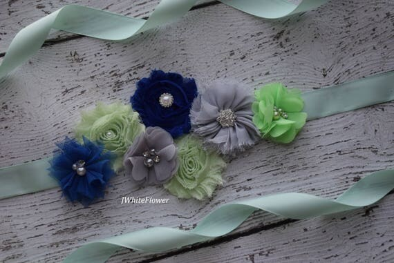 Flower Sash, Mint royal and grey Sash , flower Belt, maternity sash