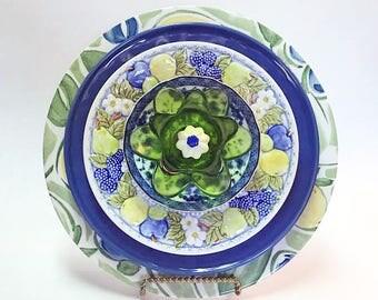 Plate Flowers - Glass Garden Flower - Garden Art - Glass Flowers - Yard Art - Outdoor Decor - Garden Decor - Home Decor