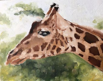 Giraffe Painting Giraffe Art PRINT Giraffe - Art Print - from original painting by J Coates