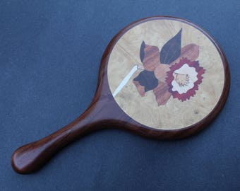 Hand Mirror Wooden Handheld Wood Daffodil Black Walnut wooden Handmade  Made in USA