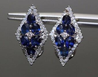 Estate 14k White Gold natural Blue Sapphire & Diamond Omega Back earrings 3.05ct