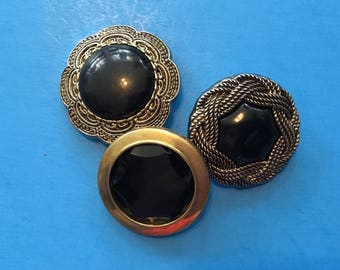 Vintage Buttons - Gold and Black