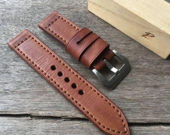 Handmade genuine leather strap 22mm.