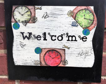 Clocks, clock sign, clock decoration, clock welcome sign, Address sign, Steampunk door hanger,