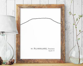 Kilimanjaro Mountain Wall Art Minimalist Art Decor Mountain Drawing Digital Printable Art Poster Large Black White Print Instant Download