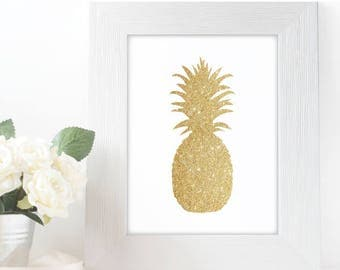 "Gold Glitter design Pineapple,  5x7"" 8x10"" incld., DIGITAL PRINTABLE File, Gold Sparkle Design Silhouette, Pineapple Decor"