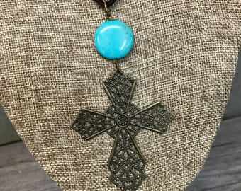 Antique Bronze Filigree Cross Necklace, Leather Necklace, Handcrafted Jewelry, Laser Engraved, Customized Jewelry, Bursting Barns Designs