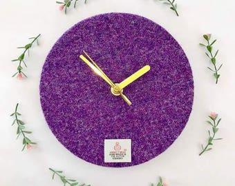 Purple Harris Tweed Clock
