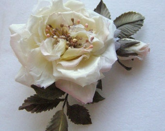 White rose from silk brooch hair clip