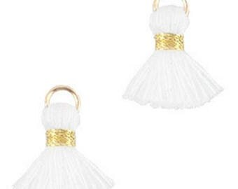 Beaded tassels, tassels, tassel pendant-1.5 cm-3 pcs.-Color selectable (color: white)