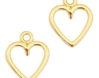 """DQ Metal pendant, charm """"Heart""""-3 pcs.-Zamak-color selectable (color: Gold)"""