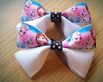 Frozen Ana, Elsa & Olaf Hair Bow Clip