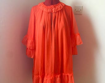 Never been worn 1950's Lux Lux orange-red bed jacket dressing gown nightgown with frilly collar and cuffs UK size medium or 12