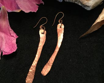 Primitive Hammered Copper Earrings - Made in Maine