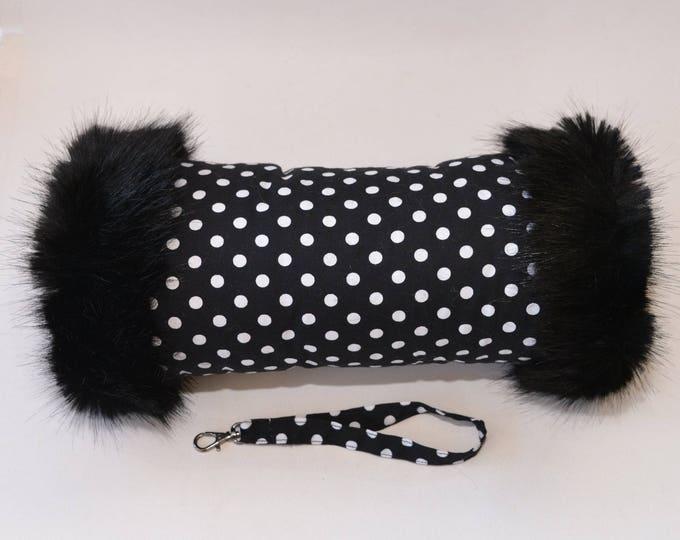 Black & White Polka Dot Hand Muff with Black Faux Fur Trim