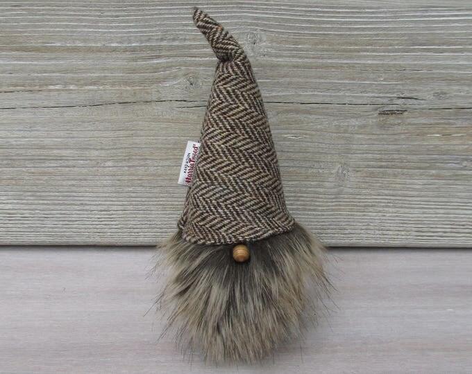 Harris Tweed Brown & Golden Herringbone Scandinavinan Tomte