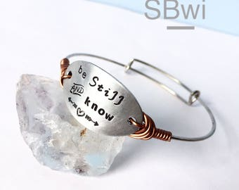 Adjustable stainless steel bangle with hand stamped detail