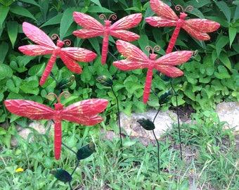 5 Dragonfly Garden Stakes / Red Metal Yard Art / Outdoor Garden Patio Fence Decor / Housewarming