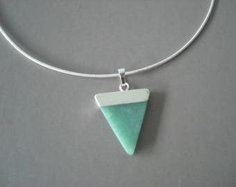 Aventurine and silver plated brass nature jewelry pendant