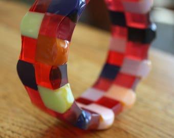 Shultz BAKELITE Checkerboard Bangle Bracelet Signed