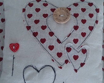 Mini cushion/christmas cushion/ love hearts/red hearts/baby cushion/ gift for her/Love cushion/ shelf sitter/mini/Mother/daughter/Friend
