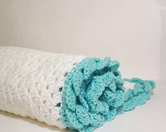 Crib Sized/Handmade Blanket/Crochet Baby Blanket/Blue Baby Blanket/Crib Blanket/Crochet Blanket/Baby Afghan/Baby Gift