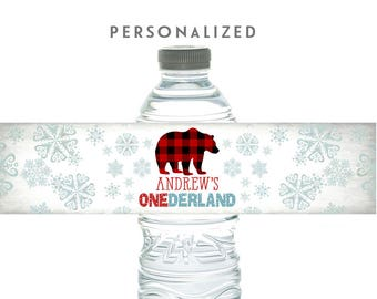 Personalized Polar Bear Water Bottle Drink Label, Polar Bear Birthday Decorations, Winter Onederland Party Decorations Printable No.1064KIDS