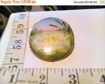 CLEARANCE Early 1900's Hand Painted Porcelain Brooch,Hand Painted Lotus Flower/Water Lily/Lily Pads/Cat Tails, Painted Porcelain Lake Scene