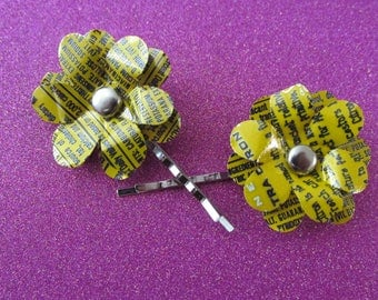 Yellow Aluminum Flower Bobby Pins!