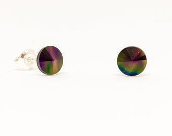 Sterling silver and Swarovski earrings- 6mm stud earrings - Crystal Dark Rainbow - everyday earrings - Swarovski Rivoli stones