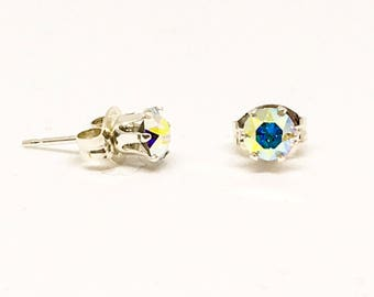 4mm Swarovski and sterling silver stud earrings - Crystal AB - everyday earrings - dainty studs