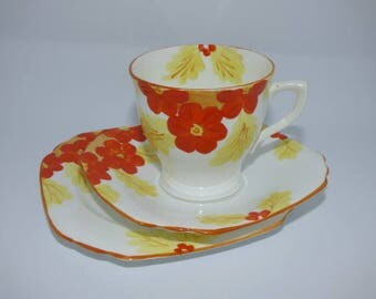 Cup, Saucer, Plate c1930 Collingwood Handpainted  Bone China Trio