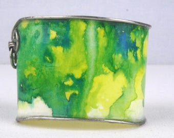 Thick Cuff Bracelet Colorful Abstract Green and Yellow Cuff