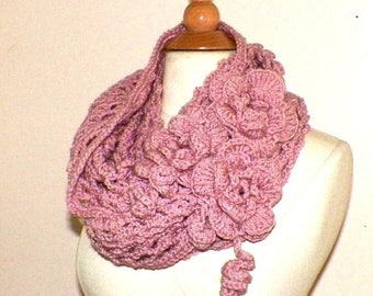On Sale- Cowl Infinity Scarf Rose Pink Traditional Irish Lace Mesh Chunky Neckwarmer Winter With Flower Brooch Extra Long
