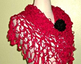 On Sale- Crochet Shawl Triangle Red Lace Bridal Wedding Wrap Scarf Boho Summer Wrap With Brooch
