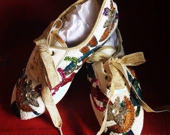 Vintage Frankie and Baby Beverly Feldman Sequined Beaded Embellished Sneakers