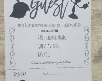 Beauty and the beast wedding invitations, beauty and the beast wedding, wedding invites, beauty and the beast invites, custom wedding invite