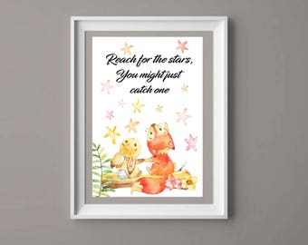 Fox print, rabbit, quote art, quote picture, inspirational quotes, picture gift, children's bedroom, child? Watercolour, child's room, art